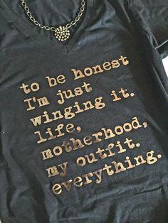 Winging it   Grey, Just Winging It Mom Shirt   Mom Life Shirt  Funny Shirt  Funny Quote   TShirt   Just Wing it  Women's Clothing