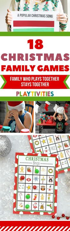 18 Christmas Games for Families To Play This Year. These fun Christmas games for families require a bit preparation, but I have some extra tips for entertaining your kids while preparing for the real play time! Fun Family Christmas Games, Preschool Christmas Games, Christmas Board Games, Popular Christmas Songs, Christmas Activities For Families, Christmas Games For Adults, Christmas Bingo, Holiday Crafts For Kids, Fun Activities For Kids