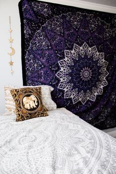 Image of Deep purple mandala tapestry
