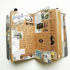 Art journal pages and scrapbook inspiration - ideas for travel journaling, art journaling, and scrapbooking. Bullet Journal Planner, Daily Journal, Art Journal Pages, Art Journaling, Travel Journal Pages, Journal Inspiration, Writing Inspiration, Pen Pal, Midori Travelers Notebook
