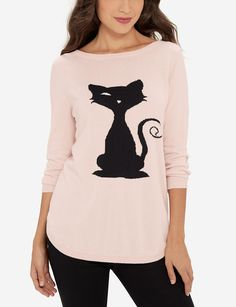 Winking Cat Sweater | Cat Intarsia Sweater | THE LIMITED