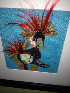 Natasha's Needlepoint, patchwork bird with feather embellishments