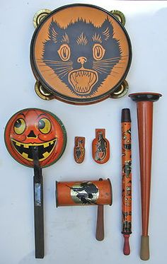 RARE Antique Halloween Tin Litho Toy Noise Maker Music Lot