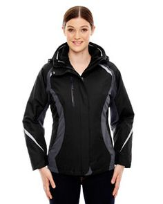The Ash City - North End Ladies' Height 3-in-1 Jacket with Insulated Liner is available in Sizes S-3XL. It can be purchased in your choice of the following colors: Black, Black/Classic Red and Night.
