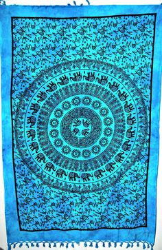 Indian mandala tapestry, Elephant Mandala Tapestry in sun moon, Hippie Hippy Indian Tapestry Cotton Bedspread,decorative wall art, becover Elephant Quilt, Elephant Tapestry, Blue Tapestry, Indian Tapestry, Mandala Tapestry, Mandala Art, Elephant Room, Elephant Stuff, Wall Tapestry