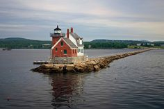 Breakwater #Lighthouse - Rockland, #Maine. The rocky walkway is over a mile long http://www.roanokemyhomesweethome.com | When staying at Samoset Resort