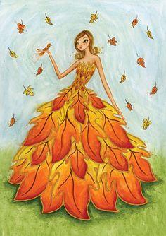 Bella Pilar- Fall leaf dress