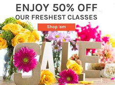 Bloom into new skills with 50% off our freshest classes!