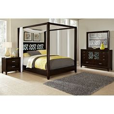 Bedroom Furniture - Plantation Cove Black Canopy Queen Bed ...