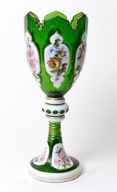 Antique Bohemian Green Overlayed and Enamelled Vase with Cut Glass Rim (Code 0237)