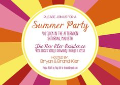 172 best party invitation wording images on pinterest invitation wonderful summer party invitation design idea with colorful backgroud and orange plum letters http stopboris Images