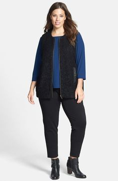 Eileen Fisher Leather Trim Vest, Tee & Slim Pants (Plus Size)  available at #Nordstrom