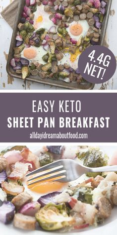 Eggs sausage bacon and vegetables all cooked on the same pan for an easy keto breakfast. Sheet pan meals make life delicious healthy and simple! Low Carb Meal Plan, Low Carb Dinner Recipes, Brunch Recipes, Keto Recipes, Breakfast Recipes, Cooking Recipes, Keto Desserts, Ketogenic Recipes, Breakfast Ideas