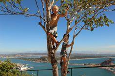 At the top of El Faro - two kids, no problemo.