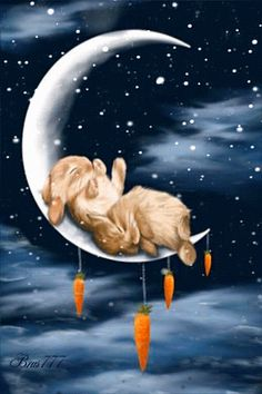 Crescent moon, rabbits, and carrots