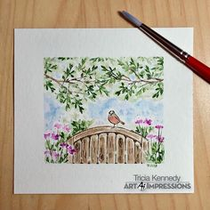 Flower Drawings Art Impressions Watercolor: Bench Set and Bird Bath Set. Watercolor Pictures, Watercolor Cards, Watercolour Painting, Watercolors, Art Impressions Stamps, Plant Drawing, Watercolor Techniques, Watercolor Landscape, Art Paintings