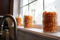 candy corn jars via Thrifty Decor Chick Easy Halloween, Holidays Halloween, Battery Operated Tea Lights, Thrifty Decor Chick, Ball Jars, Fall Decor, Autumn Decorations, Seasonal Decor, Harvest Time