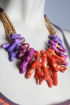 Coral Statement Necklace / Ombre Neon Orange and Purple Coral / Sunset Colors / Dip Dyed Inspired / Colorful Handmade Jewelry on Etsy, $59.00