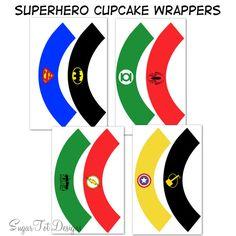 Superhero Cupcake Wrappers..colorful..(superman, Batman, Captain America, Thor, Spiderman, Green Lantern, Hulk,and Flash)