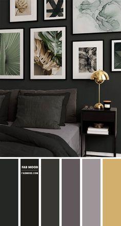Grey Colour Scheme Bedroom, Bedroom Wall Colors, Color Walls, Black And Grey Bedroom, Black Bedroom Walls, Home Bedroom, Bedroom Decor, Bedroom Ideas, Black Bedroom Furniture