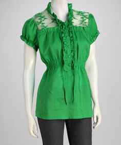 Take a look at this Green Lace Frill Linen Blouse by Giorgiana by Naji on #zulily today!