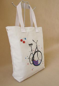 Hand painted Canvas bag Female bag  Retro  shoulder by Bloobling, $29.00