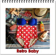 Retro Baby High Waist Swimsuit (Blue Top and Red & White Polka Dot Bottom) S, M via Etsy