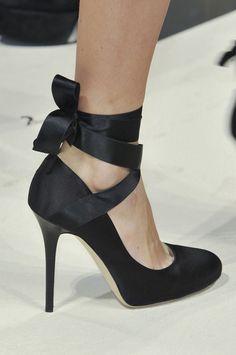 Alberta Ferretti Spring 2014 RTW. Satin stiletto ballet heels.
