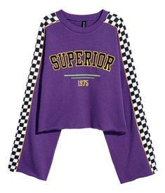Kort sweatshirt med motiv | Lilla/Superior | DAME | H&M NO