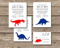 Casual Dinosaur Wedding Invitation and by PlayingWithMyBubbles
