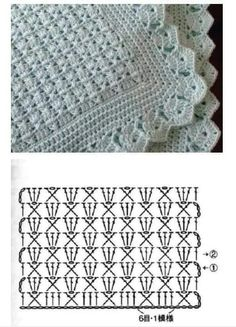 Baby Knitting Patterns Shawl Crocheting Patterns Book 300 Japanese craft book by MeMeCraftwork motif sympa pour un plaid Pineapple motif the pattern diagram shows this is much easier than it looks crochet by john – Artofit Crochet baby blanket - easy, q Hexagon Crochet Pattern, Crochet Bedspread Pattern, Baby Afghan Crochet, Crochet Diagram, Crochet Stitches Patterns, Crochet Chart, Baby Knitting Patterns, Crochet Designs, Filet Crochet