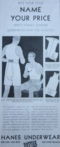 1930s ad Mens Underwear HANES for every season Man Smoking Pipe