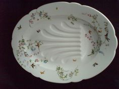 There's just something about this dish ..  Large Deep Oval Meat Platter 1900 German birds Butterflies