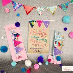 Wimpel Einladungskarten Invitation card from fabric remnants with pennants, Happy Birthday card, fab Happy Birthday Cards, It's Your Birthday, Birthday Gifts, Wedding Invitations Elegantes, Fabric Remnants, Congratulations Card, Birthday Balloons, Balloon Decorations, Kids Cards