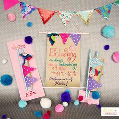 Einladungskarte aus Stoffresten mit Wimpeln, Happy Birthday card, Stoffe, Stoffwimpel, Papierröhrchen, Bommel, diy, basteln, Karte, Glückwunschkarte, Resteverwertung, Recycling, Wimpelgirlande, Girlande