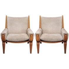 Pair Hans J. Wegner for Getama GE-501 Lounge Chairs | From a unique collection of antique and modern lounge chairs at https://www.1stdibs.com/furniture/seating/lounge-chairs/