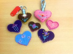 My little felt hearts. Some are key rings , others book marks.