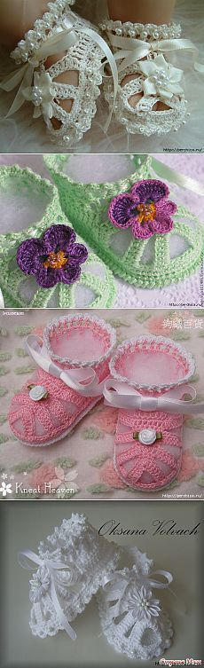 "Handmade baby booties for baby "" I soo need a grand daughter."", "" The top and bottom ones seem perfect for a bautiso"" Crochet Baby Sandals, Crochet Baby Clothes, Crochet Shoes, Crochet Slippers, Knit Or Crochet, Crochet For Kids, Crochet Stitches, Baby Patterns, Crochet Patterns"