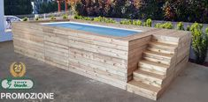 lourew 25 YEARS PROMOTION: Above ground swimming pool with pine wood covering # years Rectangle Above Ground Pool, Small Above Ground Pool, Above Ground Swimming Pools, In Ground Pools, Piscina Rectangular, Rectangular Pool, Swimming Pools Backyard, Swimming Pool Designs, Pool Garden