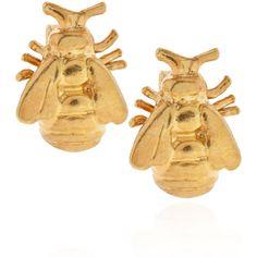 Alex Monroe Gold Vermeil Bumblebee Stud Earrings ($135) ❤ liked on Polyvore featuring jewelry, earrings, bumble bee jewelry, green earrings, polish jewelry, vermeil earrings and bee earrings