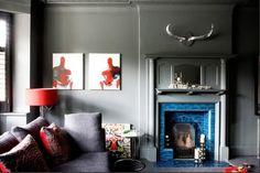 Beautiful blue tile fireplace