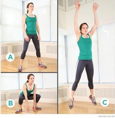 Exercise of the Week: Frog Jump This weeks exercise is the Frog Jump. It is a variation of the squat jump and is on the list of exercises I love to hate. This move targets your glutes, quads, hamstrings and inner thighs all whil… Jump Workout, Workout List, Workout Guide, Fat Workout, Album Design, Train Like A Beast, Gym Routine, Exercise Routines, Thigh Muscles