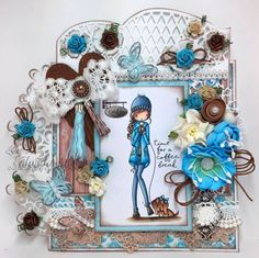 """I had a lot of fun with this card! The color combo, the die cuts, the extra's but especially this image from LDRS """"Time For A Coffee Brea. Little Darlings, Coffee Break, Color Combos, I Card, Scrap, Joy, Wreaths, Design, Home Decor"""