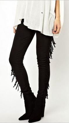 Love Love LOVE these Leggings! Love Fringe! Sexy Black Fringe Leggings #Sexy #Black #Fringe #Leggings