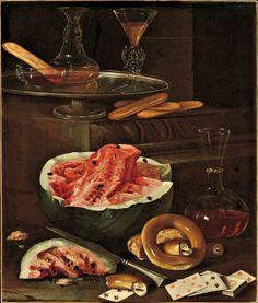 """Cristoforo Munari - """"Natura morta con cristalli, carte da gioco, biscotti e anguria"""", collezione Molinari Prandelli"""