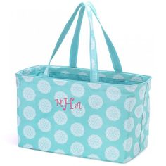 Monogrammed carry all bag, aqua tote bag, monogrammed travel bag, preppy monogrammed bags, monogrammed utility tote