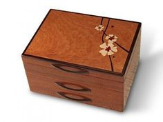Mike Fisher - Heartwood Creations - Moon Flowers 2 Drawer Jewelry Box Shown here is Heartwood Creations Moon Flowers 2 Drawer Jewelry Box. The body of this Jewelry Box are crafted from a single piece Decorative Wooden Boxes, Handmade Wooden, Small Woodworking Projects, Wood Projects, Woodworking Plans, Woodworking Videos, Woodworking Apron, Woodworking Machinery, Woodworking Classes
