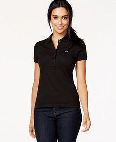 Lacoste Short-Sleeve Five-Button Logo Polo Shirt - Tops - Women - Macy's