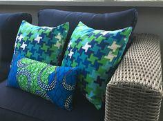 Custom pillow covers- Trina Turk and Ghanain fabric.