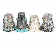 Mexican Sterling Thimbles 4pc Hematite Turquoise